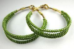 Glossy Olive Green Gold Beaded Hoop Earrings