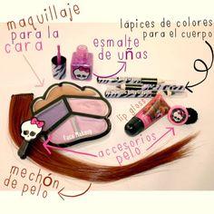 Kit completo de #maquillaje inspirado en #ClawdeenWolf para parecerse a ella estas fiestas de #halloween! #mattel #mh #monsterhigh #markwins