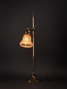 Adjustable Polished Brass Pump Lamp with stunning Vaseline Shade Art Deco Lighting, Antique Lighting, Desk Lamp, Table Lamp, Art Nouveau, Vaseline, Polished Brass, Lanterns, Sconces