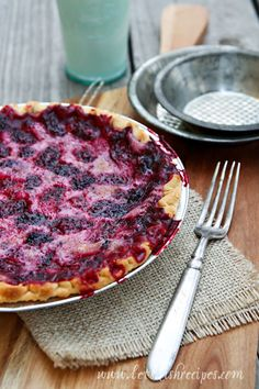 "Blackberry Sour Cream Pie ~ ""To say we all loved it would be an understatement. And it was so easy! I know blackberry pie might not be a long-standing tradition on the Thanksgiving table, but I am definitely adding it to our menu.  Sometimes, you just need to start new traditions!"" By letsdishrecipes.com"