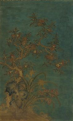 Tapestry: A flowering Pomegranate -- 1368-1644 -- China, Ming Dynasty