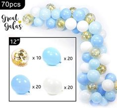 Wedding Ballon Decorations, Birthday Party Decorations Diy, Baby Shower Decorations For Boys, Party Centerpieces, Diy Party, Gold Confetti Balloons, White Balloons, Latex Balloons, Baby Boy Balloons
