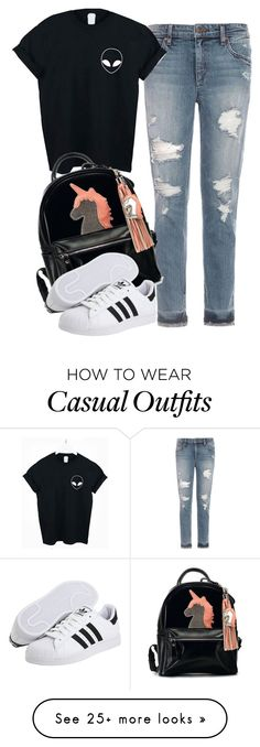 """cute casual"" by beautyandstylefox on Polyvore featuring Joe's Jeans, WithChic and adidas Originals"