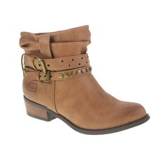 CHESTNUT STRAPPY PULL-ON ANKLE BOOT