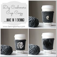 DIY Cashmere Cup Cozy // Knitting Tutorial Included!  Pinned for the embellishments - super cute ideas.