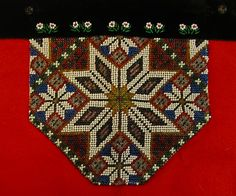 Bilderesultat for sunnhordlandsbunad brystduk Loom Patterns, Beading Patterns, Cross Stitch Borders, Lace Making, Rug Hooking, Perler Beads, Needlepoint, Norway, Bohemian Rug