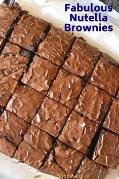 These Easy Nutella Brownies are fantastically simple and wonderfully tasty. They are rich, moist, soft and gooey, everything the best brownies should be, with added Nutella wonderfulness! Easy Nutella Brownies, Nutella Cake, Nutella Muffins, Nutella Cookies, Easy Desserts, Delicious Desserts, Dessert Recipes, Brownie Recipes, Chocolate Recipes