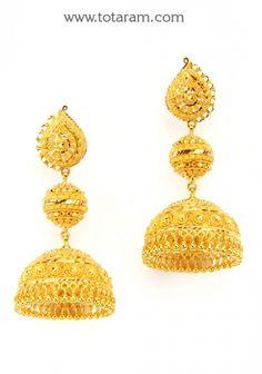 22K Gold Jhumkas - Gold Dangle Earrings: Totaram Jewelers: Buy Indian Gold jewelry & 18K Diamond jewelry