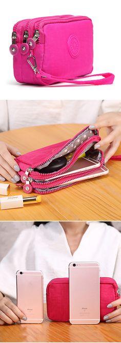 Women Nylon Phone Bag Clutch Bag Daily Capacity Wallet Coin Card Key Holder Purse
