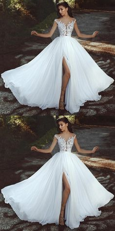 Elegant Lace Appliques Chiffon Long Split Prom Dresses on Storenvy - Bridal Gowns Muslim Wedding Dresses, Wedding Dress Chiffon, Backless Wedding, Best Wedding Dresses, Designer Wedding Dresses, Bridal Dresses, Wedding Gowns, Wedding Dresses With Slit, Lace Chiffon