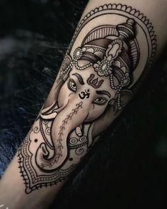 Ganesha Tattoo Sleeve, Ganesha Tattoo Lotus, Sleeve Tattoos, Lotus Tattoo, Black Ink Tattoos, Dope Tattoos, Leg Tattoos, Body Art Tattoos, Arm Tattoo