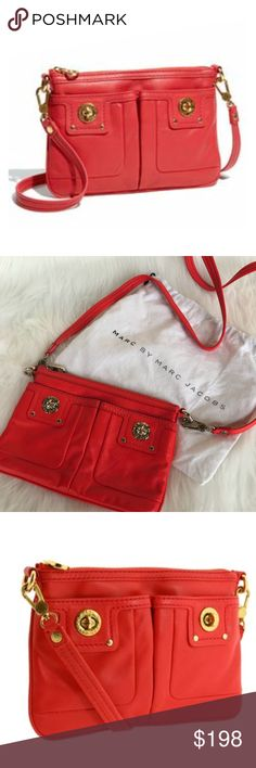 """MARC JACOBS Totally Turnlock Percy Crossbody Bag NWOT MARC BY MARC JACOBS 'Totally Turnlock - Percy' Crossbody Bag in Red! Dual pockets topped with high-shine turnlocks cover the front of a compact crossbody bag fashioned from supple leather. Top zip closure. Removable strap so wear it as a Crossbody or clutch! So versatile! Interior wall pocket. Logo-print lining. Leather. 9.5""""W x 6.5""""H x .5""""D. 25"""" strap drop. New Without Tags! Has original dust bag! SC2835111317 Marc By Marc Jacobs Bags…"""