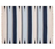 Serape Stripe Synthetic Indoor/Outdoor Rug - Blue #potterybarn