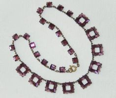 VINTAGE-CZECH-ART-DECO-MAUVE-MIRROR-BACK-GLASS-GEOMETRIC-SQUARE-NECKLACE