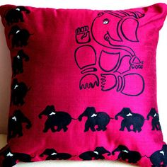 This cute hand painted cushion cover depcting of indian god.
