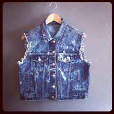Cropped Vintage 90s Bleach Denim Vest by VioletsAtticVintage, £24.00