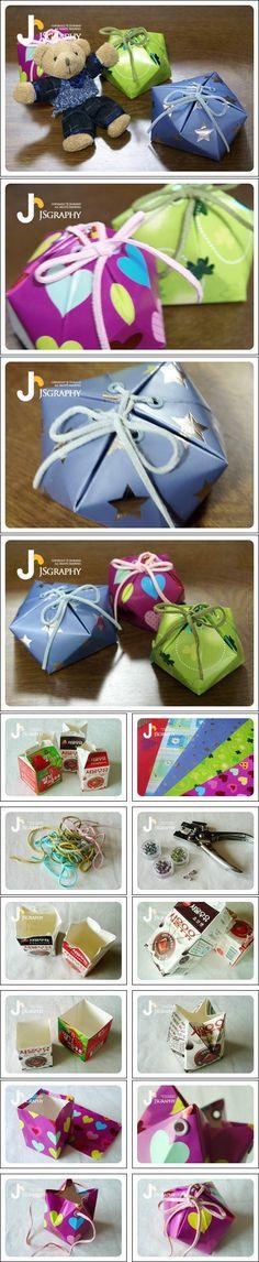 DIY Milk Carton Gift Box DIY Projects
