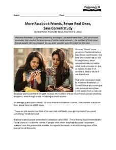 More Facebook Friends, Fewer Real Ones, Says Cornell Study Worksheet Social Studies Worksheets, Real One, Real Friends, Homework, Teaching Resources, Study, Teacher, Facebook, Sayings
