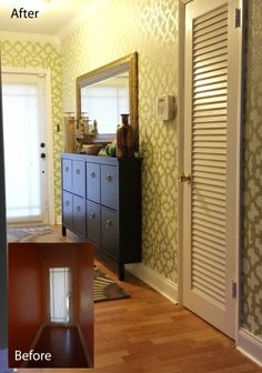 A stenciled hallway and entryway using the Zamira Allover Stencil from Cutting Edge Stencils.  http://www.cuttingedgestencils.com/moroccan-stencil-designs.html?utm_source=JCG&utm_medium=Pinterest%20Comment&utm_campaign=Zamira%20Allover