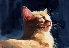 Orange Marmalade Tabby Cat Art Print of watercolor painting by Rachel's Studio via Etsy.