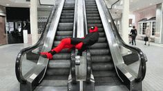 He gets how escalators work. | This Guy Who Cosplays As Deadpool Every Year Is Almost As Funny As Ryan Reynolds