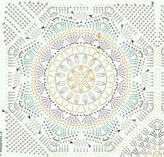 Fiche : des mandalas – Elylou crochette Motif Mandala Crochet, Crochet Mandala Pattern, Crochet Motifs, Crochet Blocks, Granny Square Crochet Pattern, Crochet Diagram, Crochet Stitches Patterns, Crochet Chart, Crochet Afghans