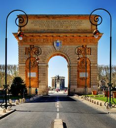 The Arc de Triomphe on Rue Foch in Montpellier / It is actually a triumphal arch located near the Jardin de Peyrou, adjacent the city centre. http://www.francewanderer.com/the-most-beautiful-sights-in-montpellier/