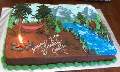 The customer wanted an outdoors scene with mountains, river and a campfire for this birthday cake. Camping Birthday Cake, Camping Cakes, Birthday Sheet Cakes, Cake Birthday, Birthday Wishes, Buttercream Cake Designs, Cake Decorating Frosting, Birthday Cake Decorating, Fancy Cakes