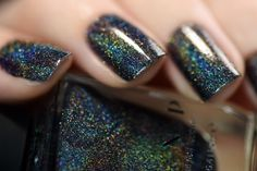 Missed Calls – Black Ultra Holographic Nail Polish by ILNP – Acrylic nails - LastStepPin Black Nail Polish, Holographic Nail Polish, Black Nails, Red Nails, Chrime Nails, Holographic Top, Love Nails, Pretty Nails, Coffin Nails