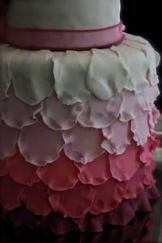 Jordan's Sweet 16 Birthday Cake.  Ombre Rose Petals cover this Pretty  birthday cake.