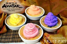 Air Nomad Fruit Pies - Avatar: The Last Airbender recipes by Felicia Berger Susanoo Naruto, Cream Cheese Pie, Fruit Pie, Dinner Themes, The Last Airbender, Avatar Airbender, Avatar Aang, Dessert Recipes, Desserts