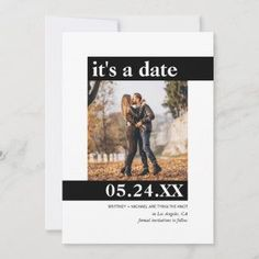 """Modern It's a Date Simple Photo Save The Date - Send out this modern photo Save the Date cards to your guests. There are 2 bold blocks with one with """"it's a date"""" and the other with the date."""