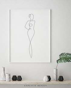 Printable Illustrated One Continuous Line Female Figure Drawing, Minimalist Nude Woman Body Art, Naked Print, Abstract Digital Girl Sketch.