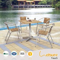 2016 Outdoor Aluminum UV Plastic Wood Dining Table and Chairs Garden Set