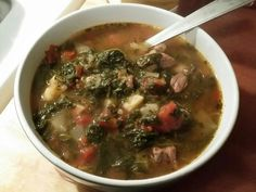 Beef & Spinach Soup - Super-trim beef with fresh onions, fresh garlic ...