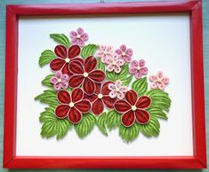 quilling virágos tabló / quilled picture with flowers
