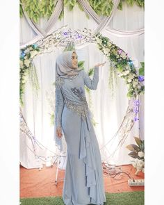 Kebaya Modern Dress, Kebaya Dress, Dress Pesta, Muslim Prom Dress, Muslimah Wedding Dress, Hijab Dress Party, Hijab Style Dress, Tea Length Wedding Dress, Perfect Wedding Dress