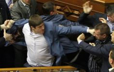 Deputies clash during a session of the parliament in Kiev, Ukraine, April 8, 2014 REUTERS/Valentyn Ogirenko