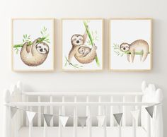 PRINTABLE LITTLE SLOTH trio A3 Print set / Sloth Print/ Kids Room Decor/ Kids Wall Art / Nursery Wall Art / by groovygoose on Etsy Art Wall Kids, Nursery Wall Art, Girl Nursery, Nursery Decor, Art For Kids, Room Decor, Bedroom Wall, Floral Nursery, Floral Letters