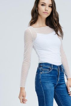 Through You Mesh Top Bb Style, Mesh, Jeans, Shopping, Tops, Fashion, Moda, Fashion Styles, Fashion Illustrations