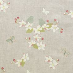 A delicate apple blossom design printed on to natural linen. Most suitable for curtains and blinds. Susie Watson, Cottage Interiors, Country Interiors, Curtains With Blinds, Roman Blinds, Wallpaper Samples, Fabric Samples, Paint Designs, Natural Linen