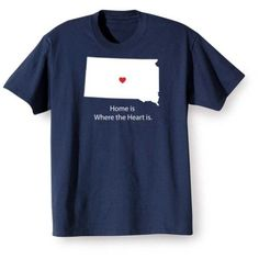 Unisex-Adult Home Is Where The Heart Is T-Shirt - South Dakota - T-Shirt - Small, Size: Small T-Shirt, Blue