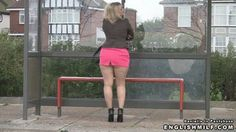 Sexy curvy blonde office woman in micro mini skirt, pantyhose and ankle boots waiting for a bus and flashing her legs and butt cheeks. Daniella in pantyhose videos.
