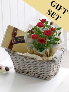 Featuring a red rose plant and a box of Maison Fougere chocolates, presented in a grey wash gift basket lined with vanilla tissue paper by Flowers. Theme Baskets, Mother's Day Gift Baskets, Wine Baskets, Gift Hampers, Valentines Flowers, Valentine Gifts, Valentine Ideas, Mother's Day Theme, Chocolates