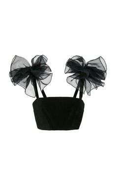 This **Rosie Assoulin** Pom Pom Bralette Top features a cropped hemline, ruffle detail on the shoulder, and an exposed back zip. Kpop Fashion, Diy Fashion, Ideias Fashion, Fashion Outfits, Gypsy Fashion, Fashion Hats, Vintage Fashion, Winter Fashion, Womens Fashion