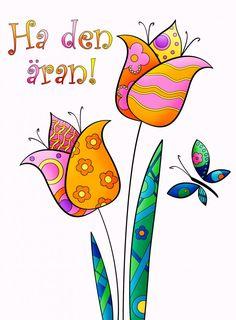 Ha den äran tulpaner Birthday Cards, Happy Birthday, Cardmaking, Graffiti, Doodles, Greeting Cards, Anniversary, Gift Wrapping, Clip Art