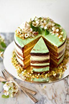 Pistachio and Lime Cake with Vanilla Swiss Meringue Buttercream