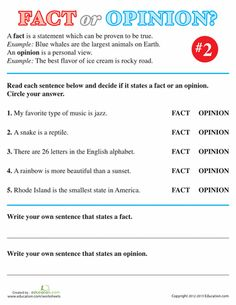 Worksheets: Fact or Opinion? #2