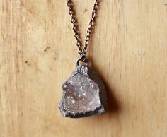 Druzy Necklace Geode Necklace Raw Crystal Necklace Druzy Geode Pendant Raw Gemstone Necklace Raw Stone Necklace Rough Crystal Copper Pendant