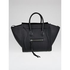 Pre-owned Celine Black Drummed Calfskin Leather Medium Phantom Luggage... (4,105 BAM) ❤ liked on Polyvore featuring bags, handbags, tote bags, celine tote, preowned handbags, tote purses, celine purse and zip purse